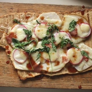 Grilled Pear, Radish and Prosciutto Flatbread Pizza with Honey Balsamic Drizzle