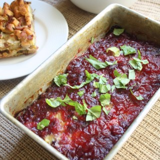 4 Ingredient Leftover Thanksgiving Turkey Stuffing Meatloaf with Cranberry Glaze