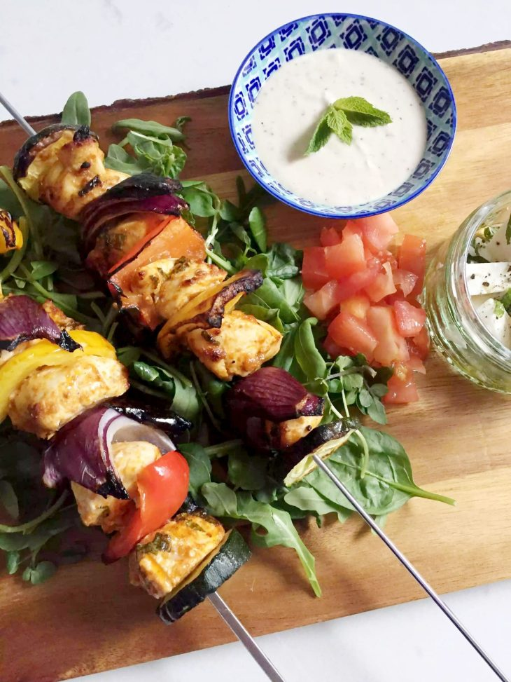 skewers with dipping sauce