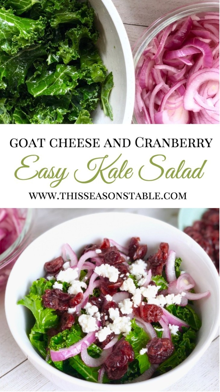 Who is done with boring side salads? Spice up your lunch, dinner, or meal prep with this delicious kale salad topped with cranberries, goat cheese and super easy 20 minute pickled onions tossed in an apple cider vinegar lime juice! Meal Prep Ideas | Side salads | Kale Salad | Easy Kale Salad | Kale Salad Ideas | Pickled onions
