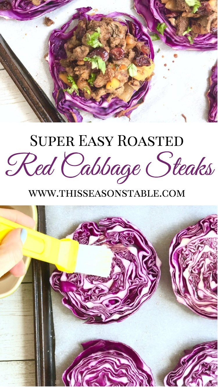 Need a fresh new gluten and dairy free 30-minute meal idea? You found it! Check out these roasted cabbage steaks, caramelized with an apple vinegar-honey sauce and smothered in a delicious, easy sauteed apple sausage chutney. 30 minute meals | dinner ideas | cabbage recipes | red cabbage recipes | roasted red cabbage | roasted cabbage
