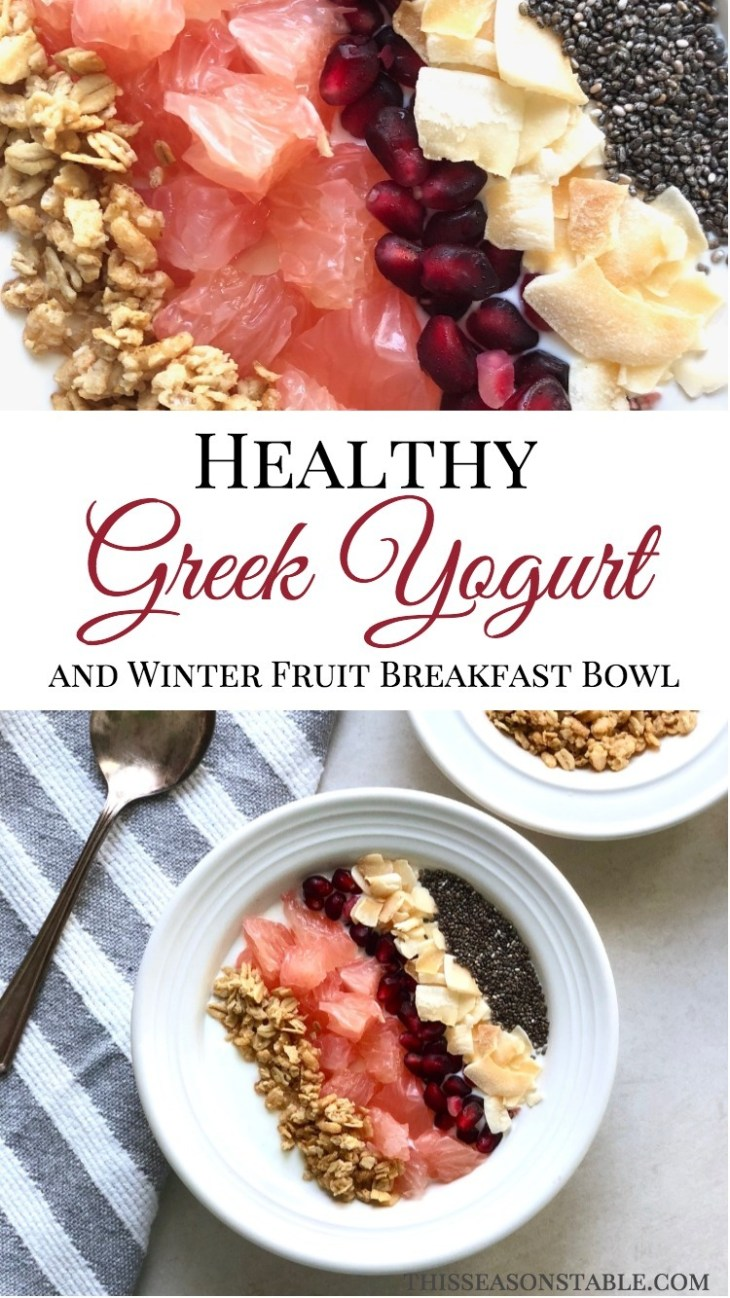 Keep your immune system flourishing and get your daily supply of vitamin C on those cold winter days with this amazingly delicious Greek Yogurt Breakfast Bowl. It is packed with high protein greek yogurt, chia seeds, yummy granola and nutrient dense pomelo and pomegranate winter fruit! Healthy Breakfast | Breakfast Bowl | Greek Yogurt Recipes