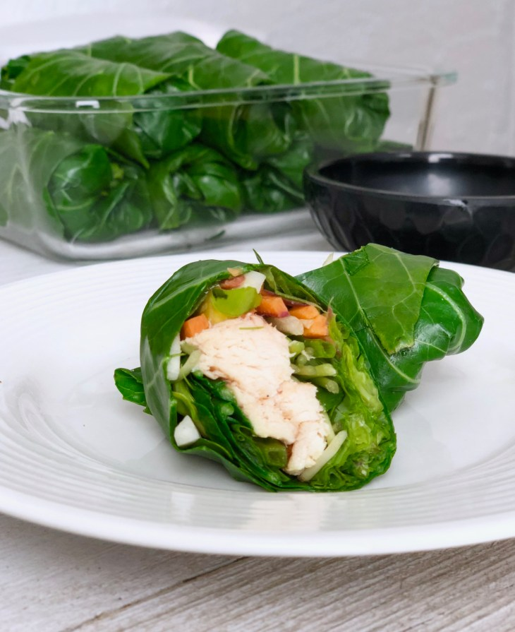 collard chicken wrap on a plate
