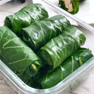 Low Carb Collard Chicken Wraps with Easy Peanut Sauce