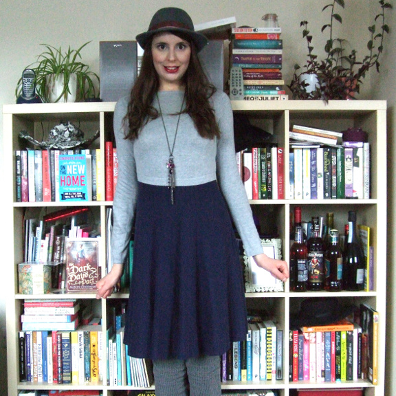 oasis dress, blue dress, grey dress, jumper dress, sweater dress
