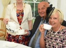 The Mayoress, Councillor Moira Smith, with Eric and Christine Stephenson at the Mayoress At Home event