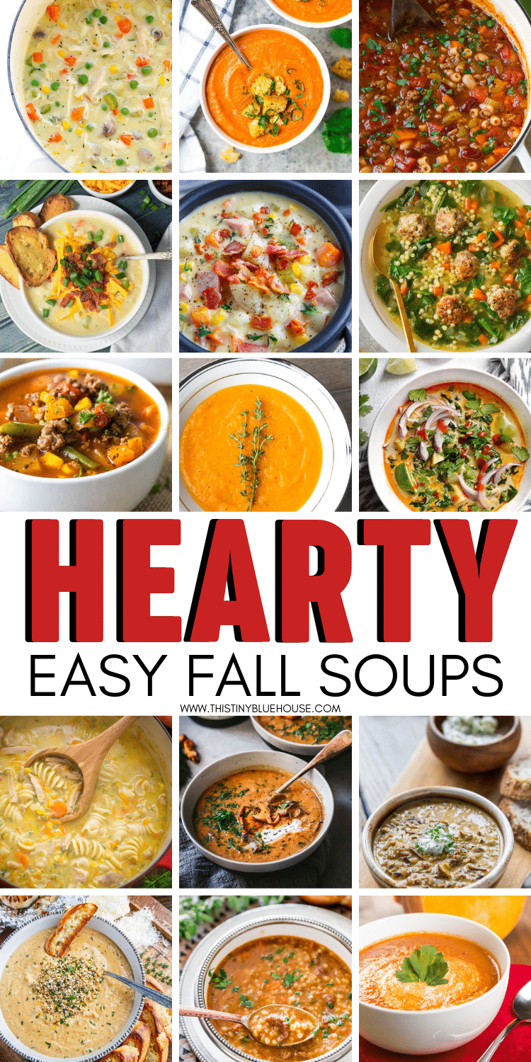 Here are over 40 delicious and must try easy hearty fall soups. These soups are perfect for crisp fall days. They are easy to make and freeze well! #fallsoups #souprecipes #heartysouprecipes #wintersoups #easyweeknightdinners #schoolnightdinners #easyheartysoups #healthysoups #autumn