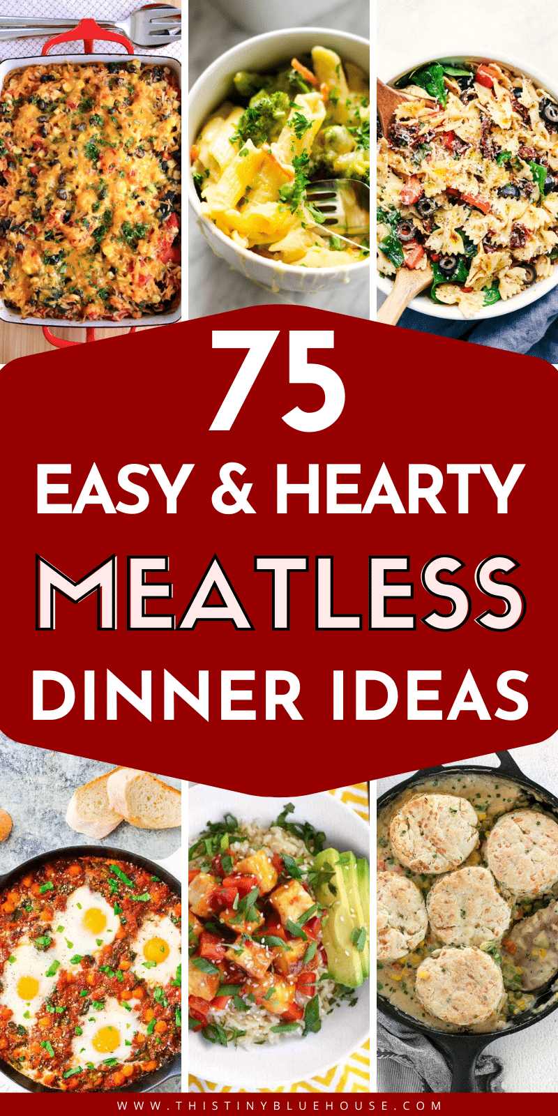 Here are 75 delicious and hearty meatless meals that even the carnivore in the family will love. These recipe ideas are easy, budget friendly and above all delicious meatless meals   meatless meals for meat eater   budget friendly recipes   easy dinner ideas   quick dinner ideas   busy weeknight dinner ideas   vegetarian meals   vegetarian meal ideas   vegetarian dinner ideas   vegetarian dinner recipes