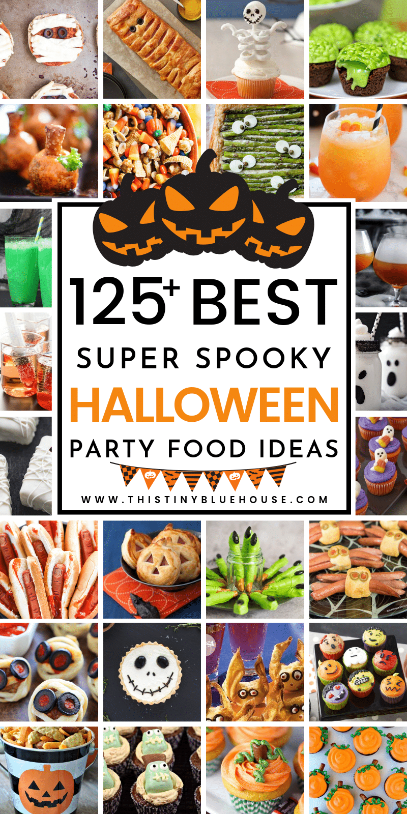 Here are 130 best ultimate ideas for Halloween party food for your super spooky party. From spooktacular savory dishes to totally scary cupcakes and even drinks this ultimate guide to Halloween party food is guaranteed to make your Halloween bash a huge success. #halloweenpartyfoods #halloweenpartyfoodappetizers #halloweenpartyfoodforacrowd #halloweenpartyfoodeasy #halloweenpartyfoodideas #halloweenpartyfooddesserts #halloweenpartyfooddrinks #halloweenpartyfoodbest #Halloweenfoodcreepy #halloweenfoodpotluck
