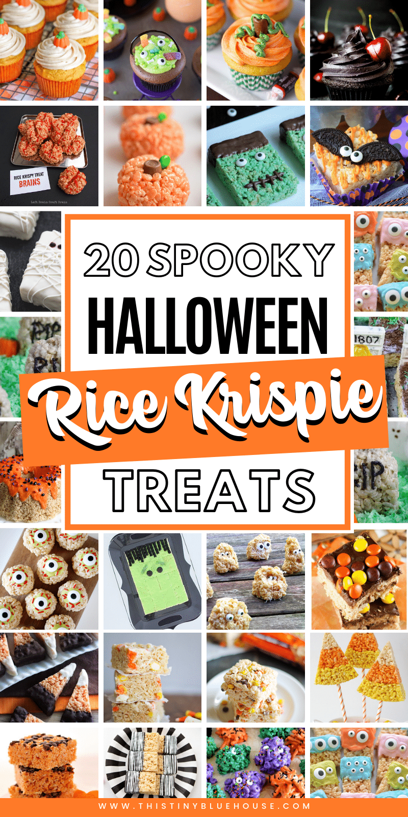 The best collection of Halloween Rice Krispie Treats! Perfect for the kids at school, pot-luck or other Halloween themed get-together. These 20+ spooktacular treats are a great way to celebrate Halloween. #HalloweenFood #HalloweenFoodIdeas #RiceKrispieTreats #HalloweenRiceKrispieTreats #SpookyTreats #SweetHalloweenTreats