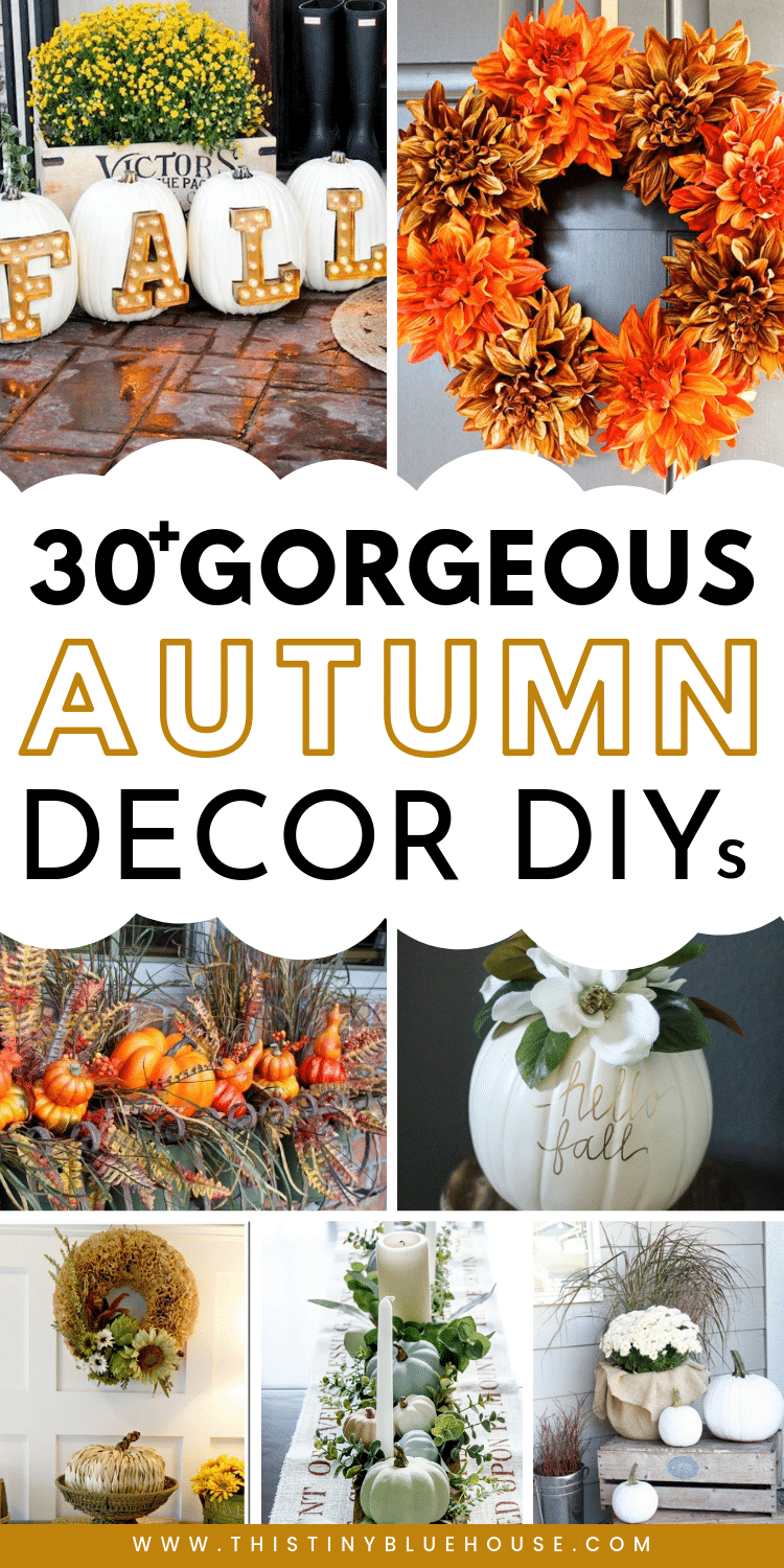 Looking to decorate your home for fall on a budget? Here are 30+ DIY fall decor ideas that you can put together with basic items from the dollar store. #falldecor #autumndecor #dollarstorefalldecor #diyfalldecor #diyautumndecor #DIYfallporchideas #DIYfallwreaths #DIYdecorforfall
