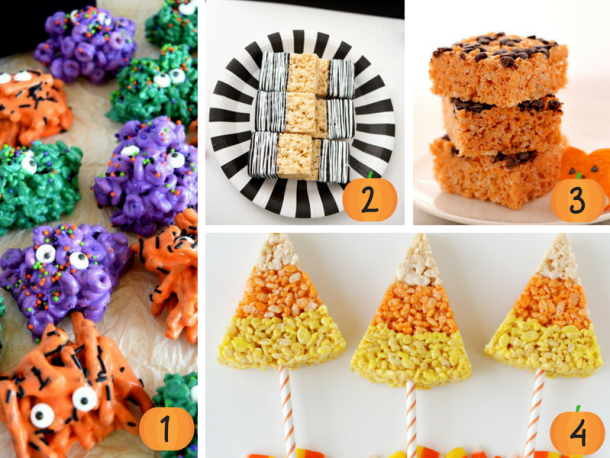 The best collection of Halloween Rice Krispie Treats! Perfect for the kids at school, pot-luck or other Halloween themed get-together. #Halloween #HalloweenTreats #HalloweenRiceKrispieTreats #HalloweenRiceKrispieTreatsRecipes #HalloweenRiceKrispieTreatsEasy #HalloweenRiceKrispieTreatsIdeas