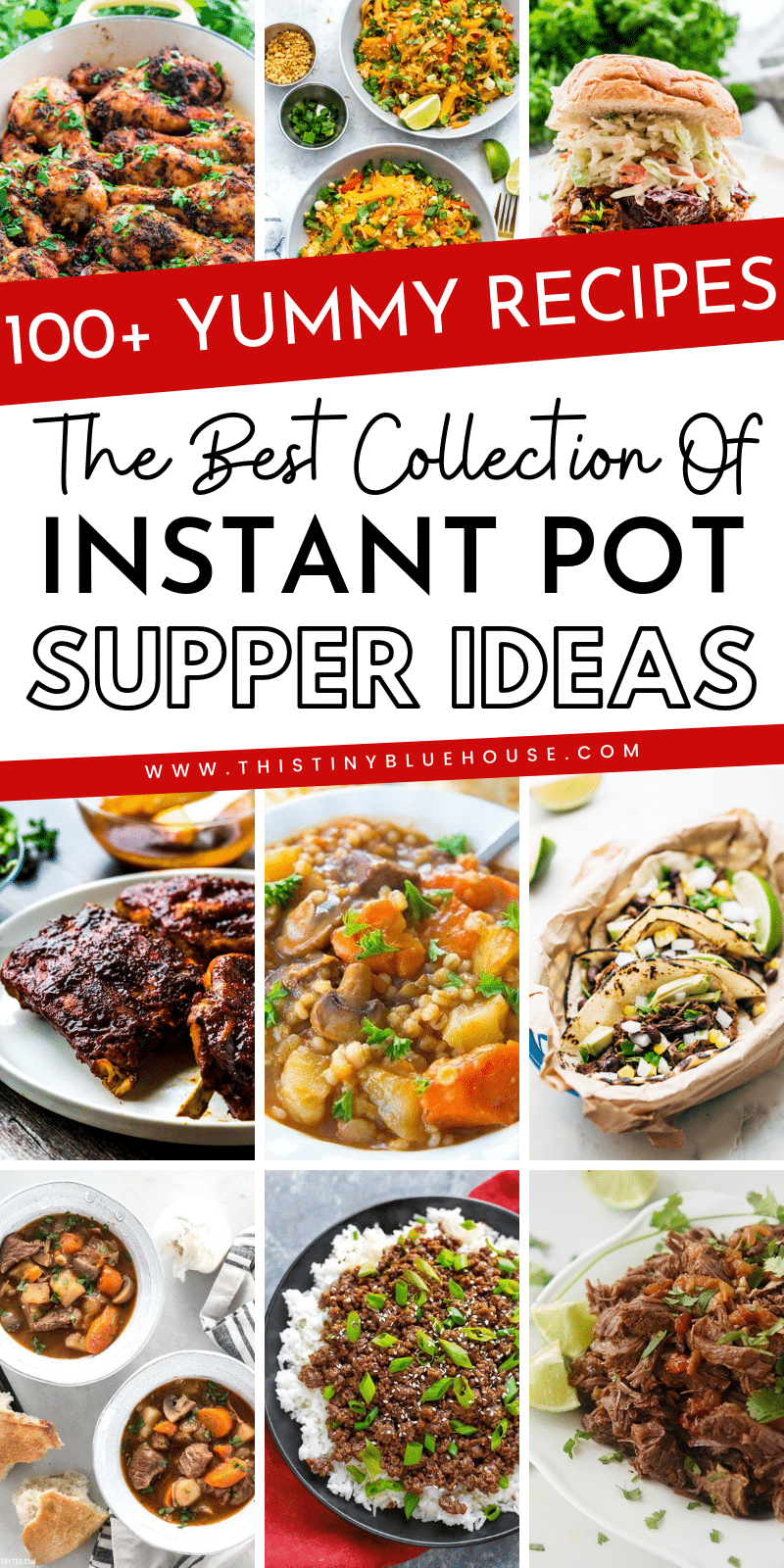 Here are 100+ delicious Instant Pot Meals divided into convenient categories including chicken, beef, pork, fish and vegetarian. This is the ULTIMATE collection of easy Instant Pot supper ideas that are perfect for busy families on busy school nights or anytime they want to put together a delicious meal in a fraction of the time it would take on the stove top. #instantpotdinners #easyinstantpotdinners #bestinstantpotrecipes #ultimateinstantpotdinnerrecipes #deliciousinstantpotrecipes