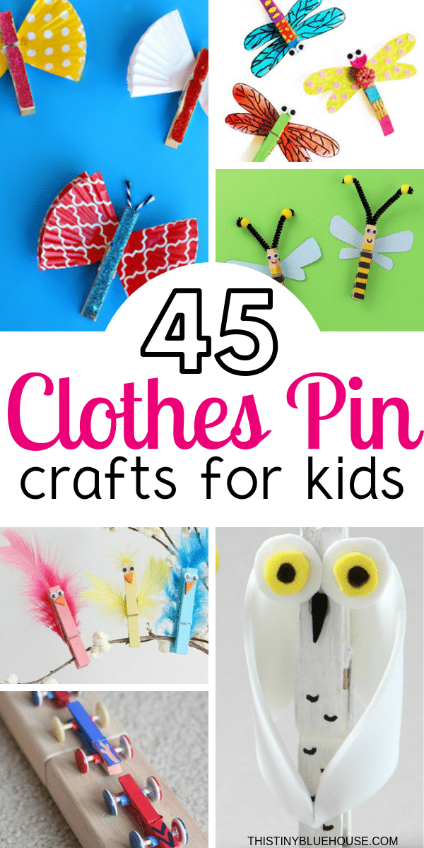 45 Cute Fun Clothespin Crafts For Kids - This Tiny Blue House - Kids Crafts