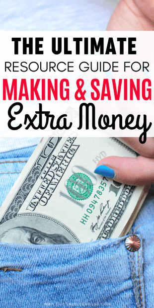 Are you looking for clever ways to make extra money or save extra money? Here is a resource library of over 50 of our favorite money hacks. Whether you're interested in picking up a side hustle to pay off debt or scale back your budget you'll find hundreds of helpful tips & tricks to help you earn more and save more. #waystoearnmoney #waystoearnmoneyfromhome #waystoearnmoneyeasy #waystoearnmoneyonline #sidehustles #onlinesidehustles #waystosavemoney #moneysavingtips #moneysavinghacks #easywaystosavemoney