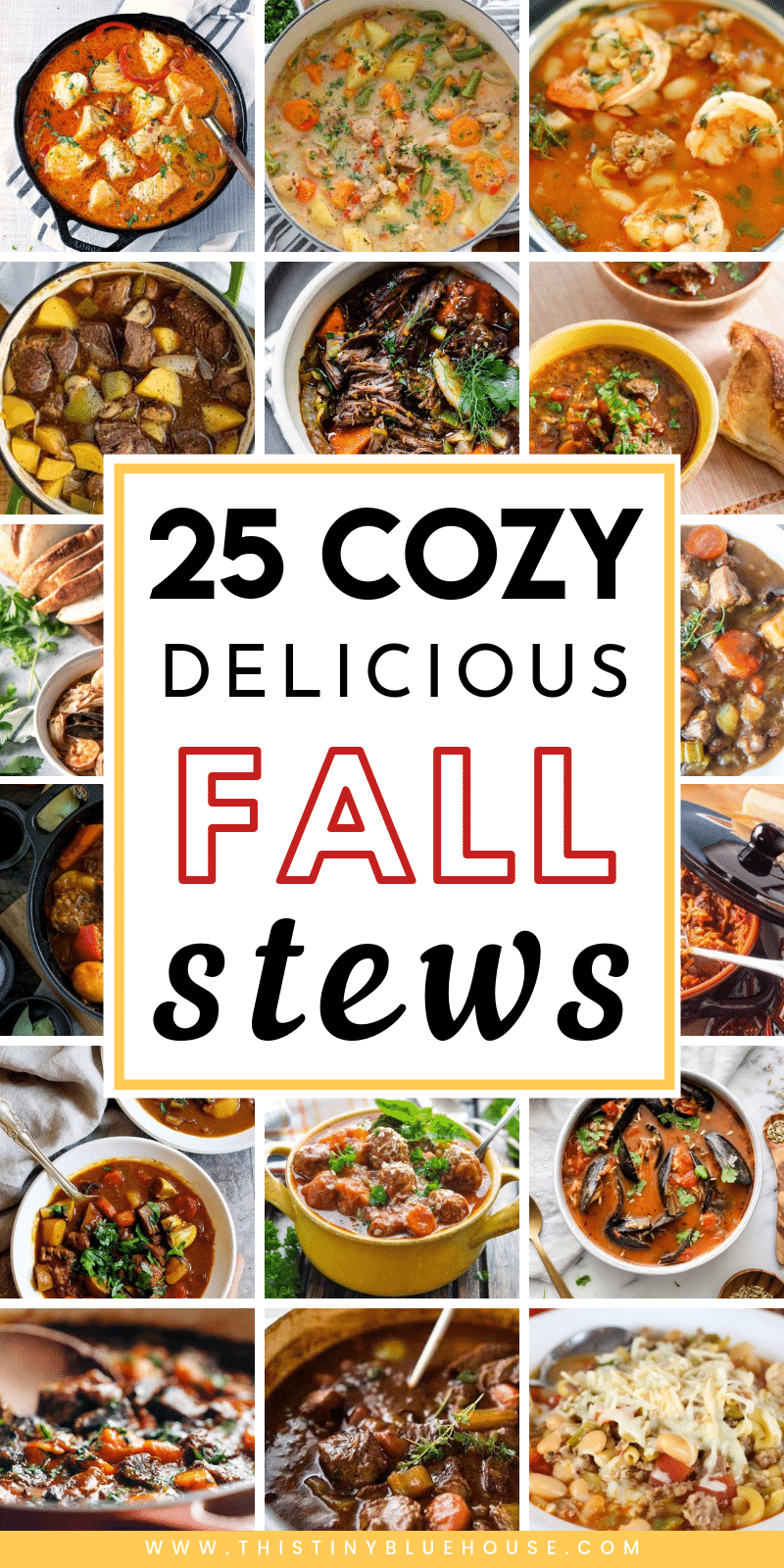 Here are over 20 delicious hearty stews you just gotta try this fall. These easy and delicious recipes are the perfect dinner on cool autumn nights. #stewrecipes #fallstewrecipes #heartystewrecipe #beststewrecipes #busyschoolnightrecipes #easyfallrecipes #easywinterrecipes #easyfalldinnerideas