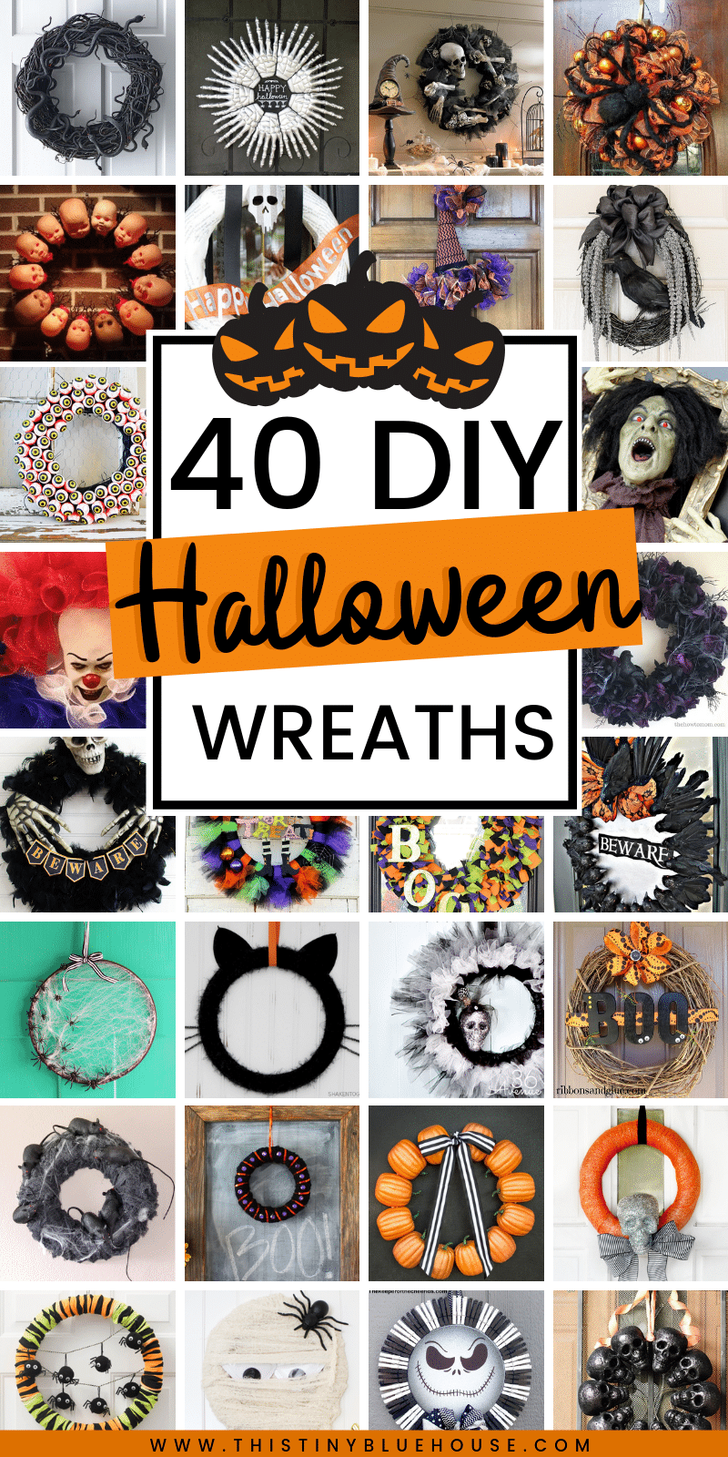Here are 40 of the absolute best DIY Halloween wreaths. From cute and kid friendly to super spooky there is a wreath to fit every decor preference. #DIYHalloweenDecor #DIYHalloweenWreath #DIYDollarStoreHalloweenWreath #EasyHalloweenWreaths #DIYHalloweenWreathIdeas