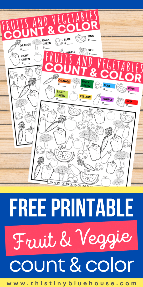 This cute FREE boredom busting printable Fruit and Vegetable Count and Color activity helps preschoolers master colors, numbers, sorting and vocab all while having fun. #ISpyGames #ISpyGameForKids #CountandColorGames #CountandColorGamesForKids #PrintablesForKids #PreschoolPrintables