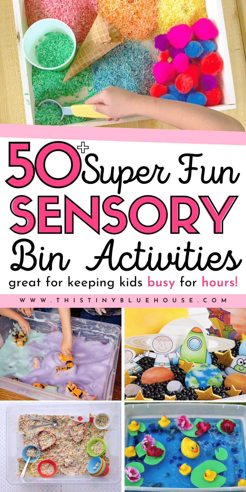 Encourage young kids to use their senses to discover, create, explore and LEARN through play with these 60 super fun sensory bin activities for young kids. #sensorybins #sensorybinsfortoddlers #sensorybinsideas #sensorybinsforpreschool #easysensorybins #activitiesforyourkids #activitiestokeepkidsbusy