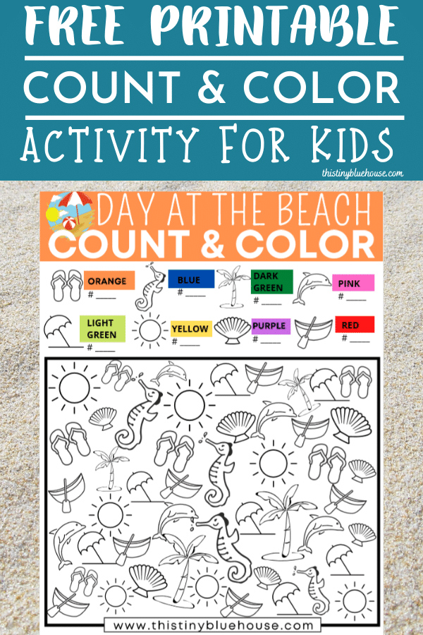 Reduce screen time with this super fun Day At The Beach Count and Color Activity. As a bonus kids work on their number and counting skills. #countandcolor #countingprintablesforkids #numberworksheetsforkids #ispygame #ispygameforkids #freeprintablesforkids #freeworksheetsforpreschool #kindgergartenprintables #boredombustingactivities