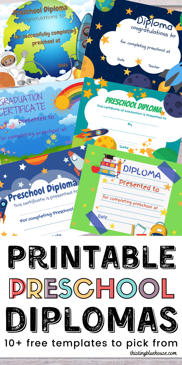 Celebrate your preschooler's graduation safely at home with these adorable free preschool diploma printable templates. These adorable free printable diplomas are a great way to celebrate your child's achievement. #printablediplomas #preschooldiplomas #freeprintablediplomas #kindergartendiplomas #freeprintableprintablediplomas