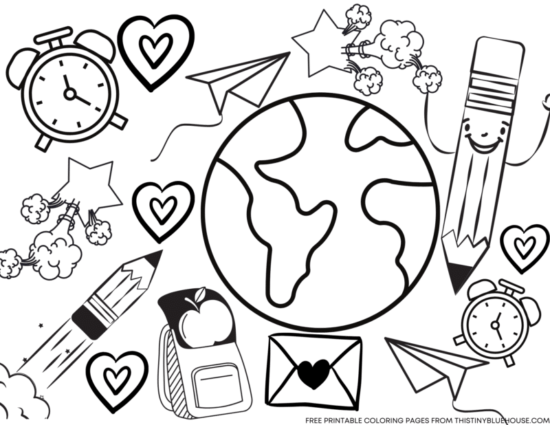 6 Cute Free Printable Back To School Coloring Pages For