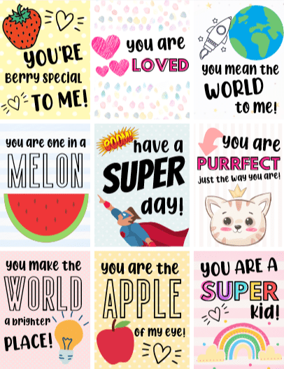 Remind kids you are thinking about them with these free printable lunch box notes. Sneak a love note into their packed lunch and give them a sweet surprise that will leave them smiling all day.