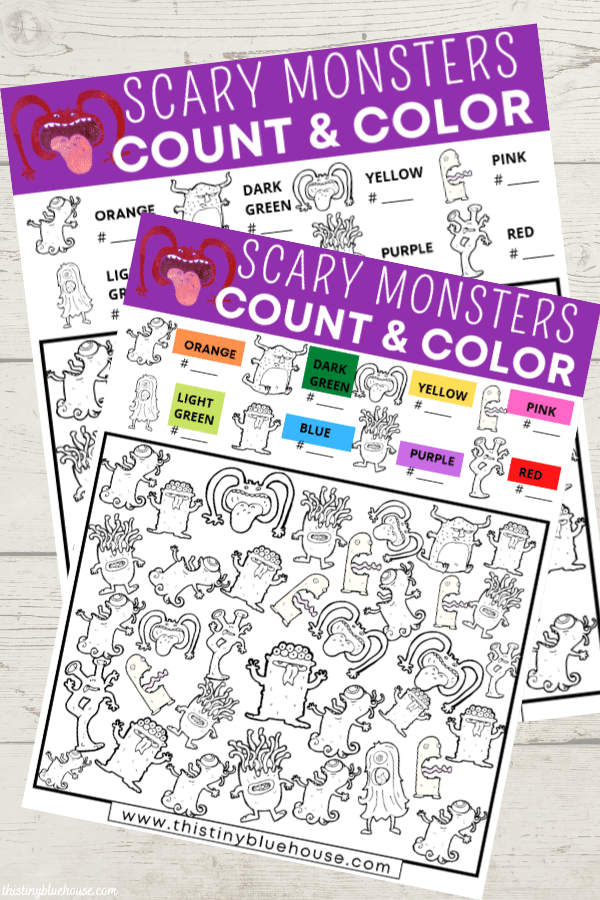 Scary Monster Halloween I Spy (2 Version Free Printable)