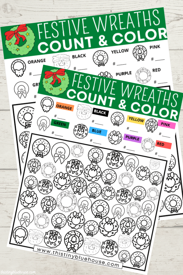 Practice coloring, counting and grouping with this FREE printable festive Christmas wreath I Spy activity for kids that encourages screen free play.