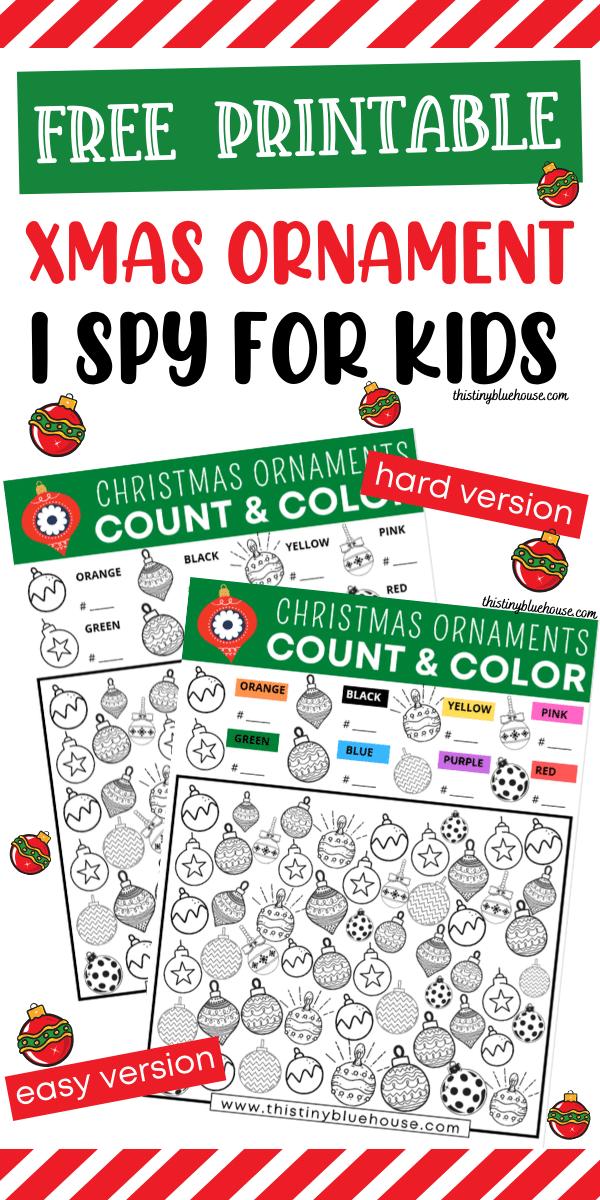 Free Printable Christmas Ornament I Spy Game For Kids