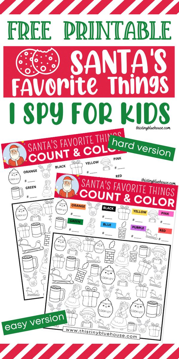 Santa's Favorites I Spy (Free Printable)