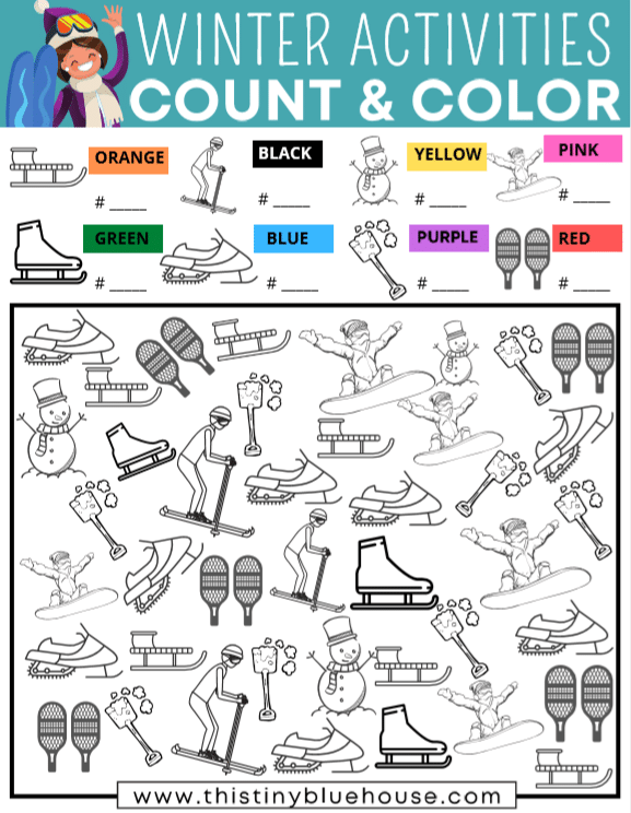 Encourage quiet screen free play with this free printable Winter Activities I Spy activity that encourages counting and coloring skills in kids as young as 3.