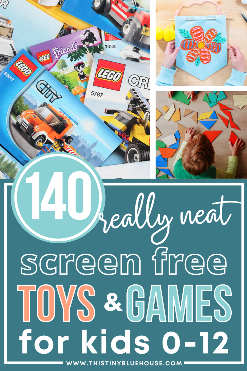 Here Are 100+ Top Cool Toys For Kids Aged 0-12 that encourage fun screen free play. From puzzles to painting kits and even LEGO there's a neat toys for kids of all ages.