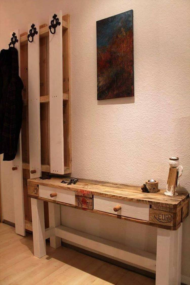 wood pallet console table