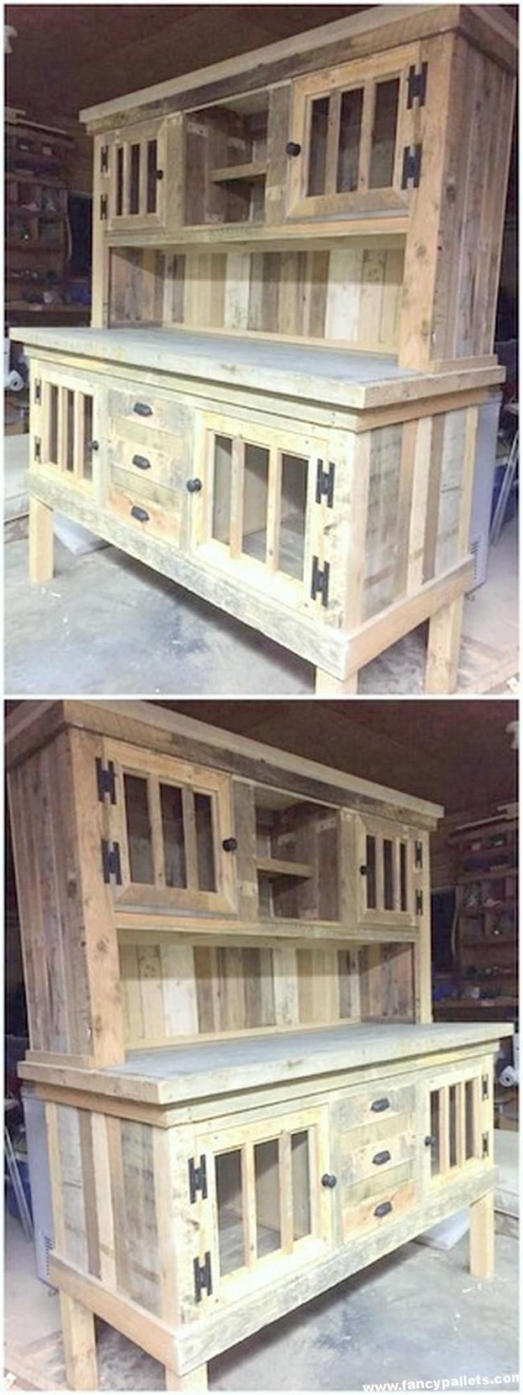 wood pallet kitchen cabinet hutch