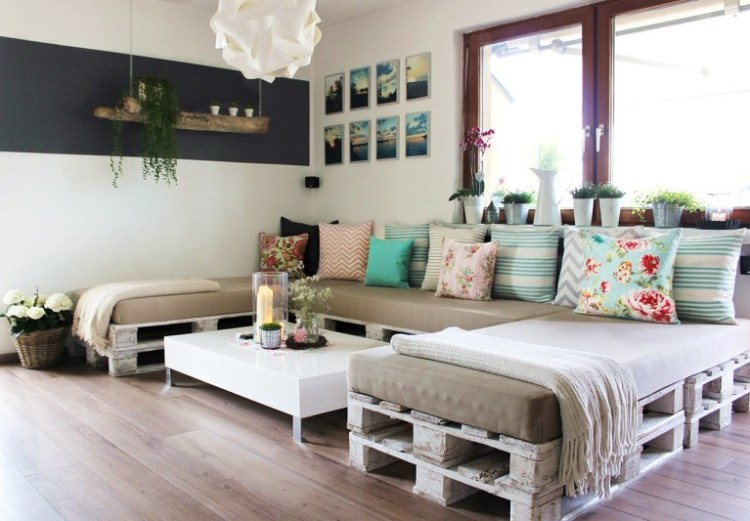 wood pallet sectional couch
