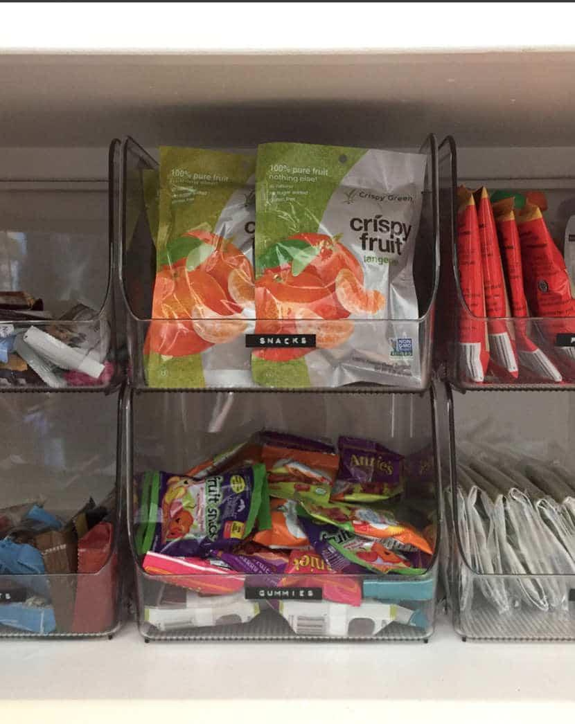 Dollar Tree Pantry Organization for snacks