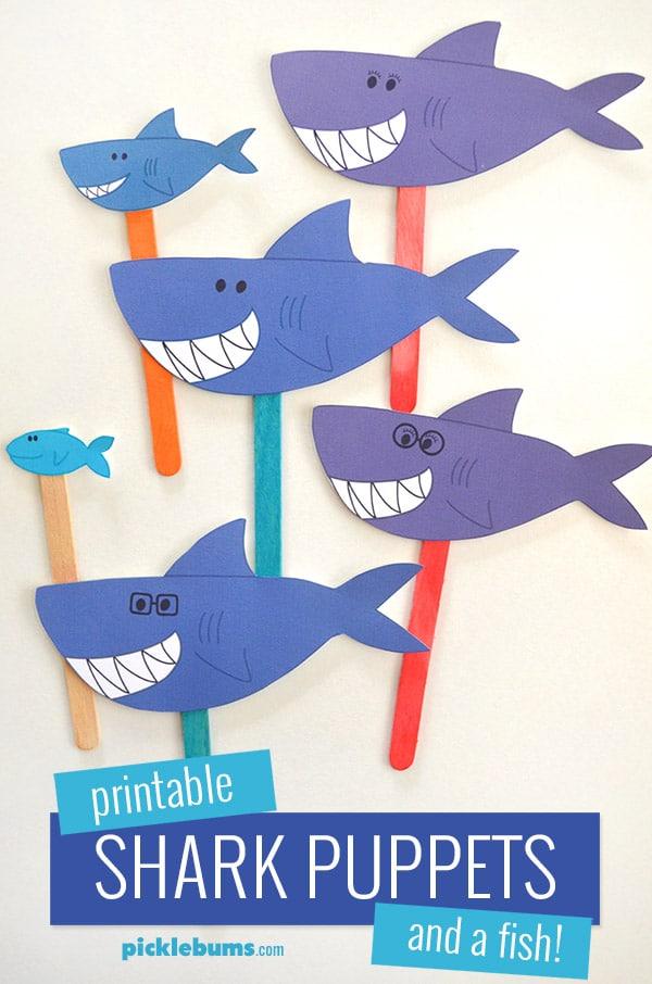 Printable shark puppets