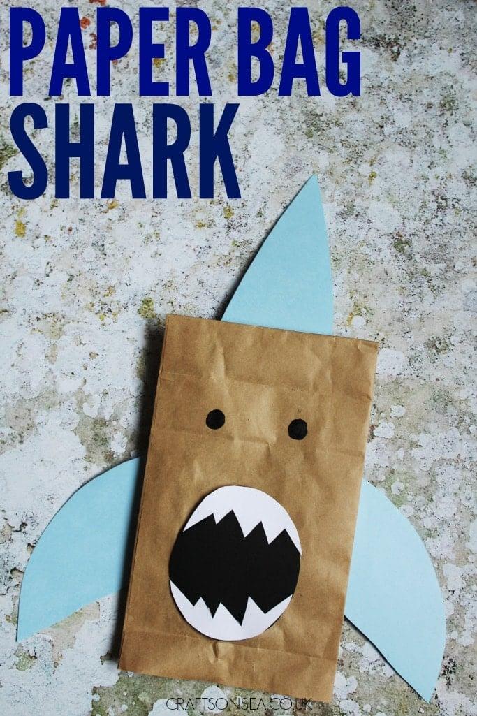 paper bag puppet shark craft