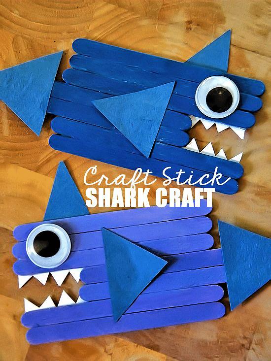 popsicle stick shark crafts