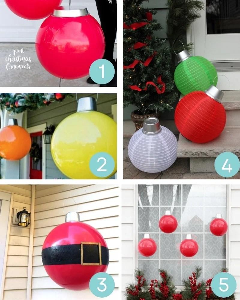 diy outdoor Christmas decorations: overzied DIY giant Christmas ornaments