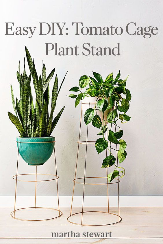 easy DIY Plant Stand idea made from a tomato cage