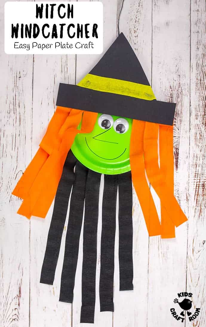 paper plate witch craft for Halloween