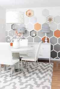 Before and After Geometric Hexagon Wall - Thistlewood Farm