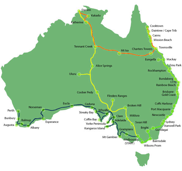 travel map of Australia