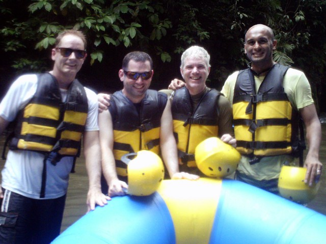 Rob and his mates ready for some whitewater rafting
