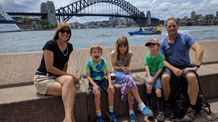 Family with Sydney harbour