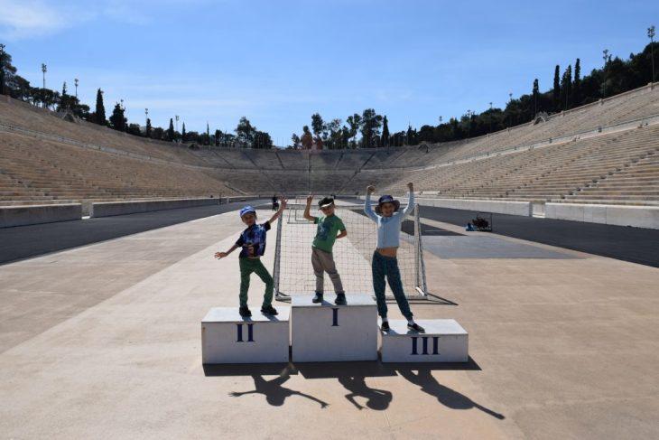 Kids on the Olympic Stadium podium