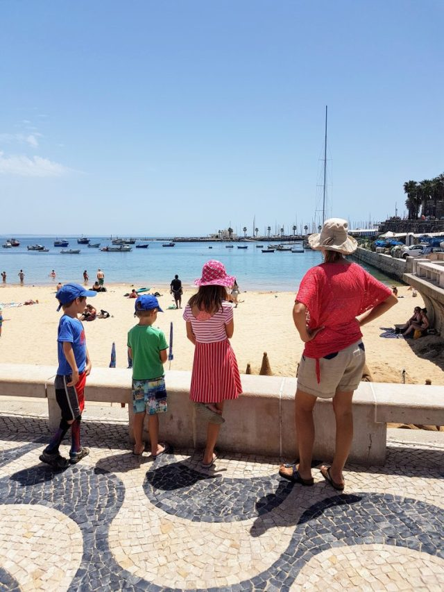 Checking out one of the main beaches of cascais