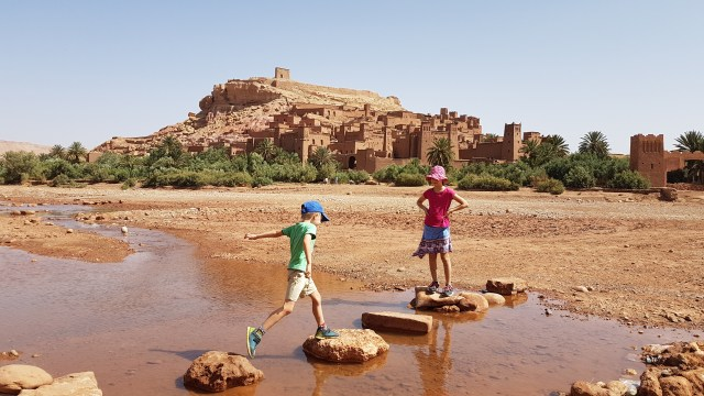 Crossing the river to the kasbah